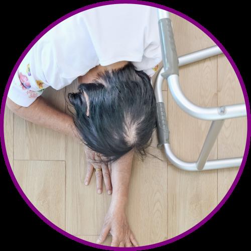 Woman fall walker in cirlce